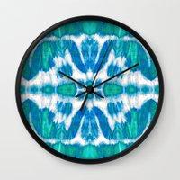 tie dye Wall Clocks featuring Tie-Dye Twos Aqua by Nina May Designs