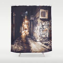 Lower East Side - Midnight Warmth on a Snowy Night Shower Curtain