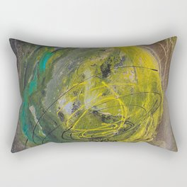 Lime spray painting on canvas, handmade Rectangular Pillow