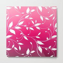 FLOWERY VINES | fuchsia white Metal Print