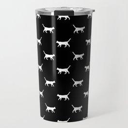 Cat silhouette cat lady cat lover black and white minimal modern pet silhouette pattern Travel Mug
