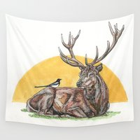 stag Wall Tapestries featuring Stag by Meredith Mackworth-Praed