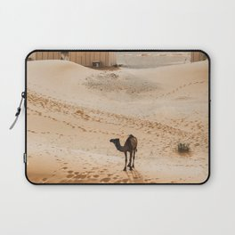 Two camels near contemporary luxury glamping camp in Morocco Sahara desert. Sand dunes around. Many white modern eco tents. Laptop Sleeve