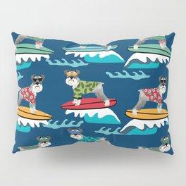 schnauzer surfing dog breed pattern Pillow Sham