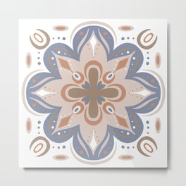 Modern Mandala Neutral Colors Metal Print