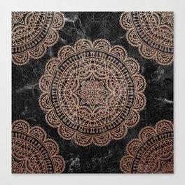 Mandala - rose gold and black marble 2 Canvas Print