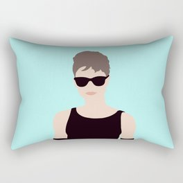 Audrey Hepburn Inspired // Iconic British Model Actress Fashion Movie Scene by Mighty Face Designs Rectangular Pillow