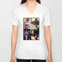 grand theft auto V-neck T-shirts featuring Grand Theft Baltimore - The Wire meets Grand Theft Auto by rydrew