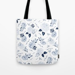 Floral Blossom - Midnight Blue Tote Bag