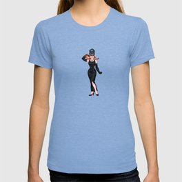 Audrey Hepburn Tiffanys iconic dress and cat comic - Hollywood fashion - retro movie - pinup girl T-shirt