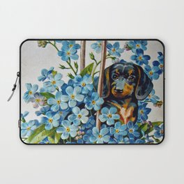 Dachshund and Forget-Me-Nots Laptop Sleeve