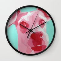 jack russell Wall Clocks featuring Jack Russell by Caroline Ward