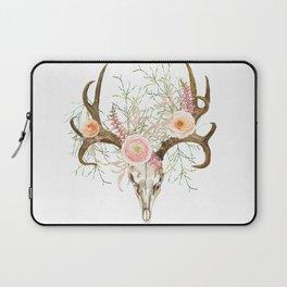 Bohemian deer skull and antlers with flowers Laptop Sleeve