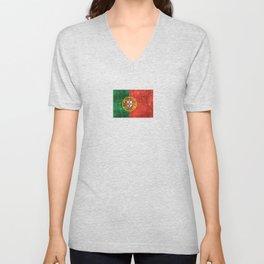 Vintage Aged and Scratched Portuguese Flag Unisex V-Neck