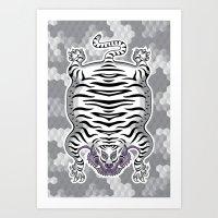 TIBETAN TIGER WHITE (white) Art Print