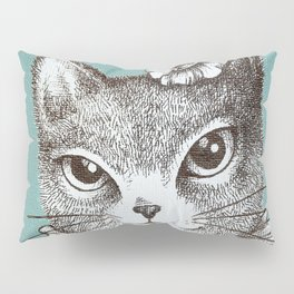 Blue Cat - Ink and acrylic cat art Pillow Sham