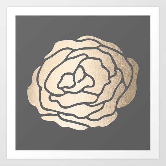 Rose in White Gold Sands on Storm Gray Art Print