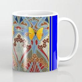 Ornate blue & Yellow Art Nouveau Butterfly Red Designs Coffee Mug