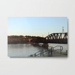 Mississippi River Railroad Bridge at Dubuque Metal Print