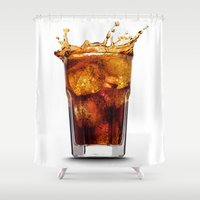 coca cola Shower Curtains featuring Cola by Katieb1013