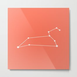 Leo Zodiac Constellation - Coral Red Metal Print