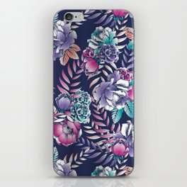 navy floral iPhone Skin