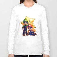 mario bros Long Sleeve T-shirts featuring Mario Bros. by StephanieIllustrations