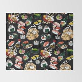 Sushi Black Throw Blanket