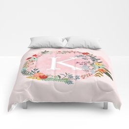Flower Wreath with Personalized Monogram Initial Letter K on Pink Watercolor Paper Texture Artwork Comforters