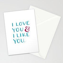 I love you & I like you -- Blue Stationery Cards