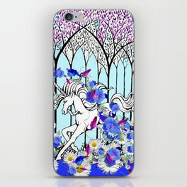 RUNNING WHITE UNICORN BLUE FLORAL FOREST FANTASY iPhone Skin