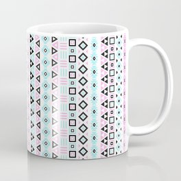 Aztec Influence Pattern III Blue Black Pink White Coffee Mug