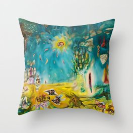 The Earth Is a Man landscape by R. Matta Throw Pillow