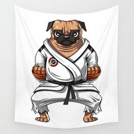 Karate Pug Dog Martial Arts Ninja Wall Tapestry