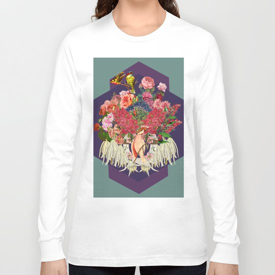 Floral and Parrot Long Sleeve T-shirt