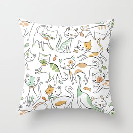 Here Kitty Kitty Throw Pillow