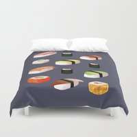 sushi Duvet Covers featuring Sushi by Skrich