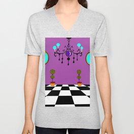 An Elegant Hall of Mirrors with Chandler and Topiary in Purples Unisex V-Neck