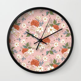 Retro Rose Garden on Coral Pink Wall Clock