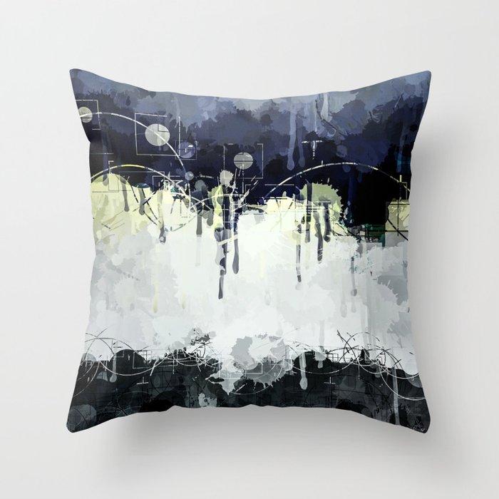 Modern Indigo Eclipse Abstract Design Throw Pillow