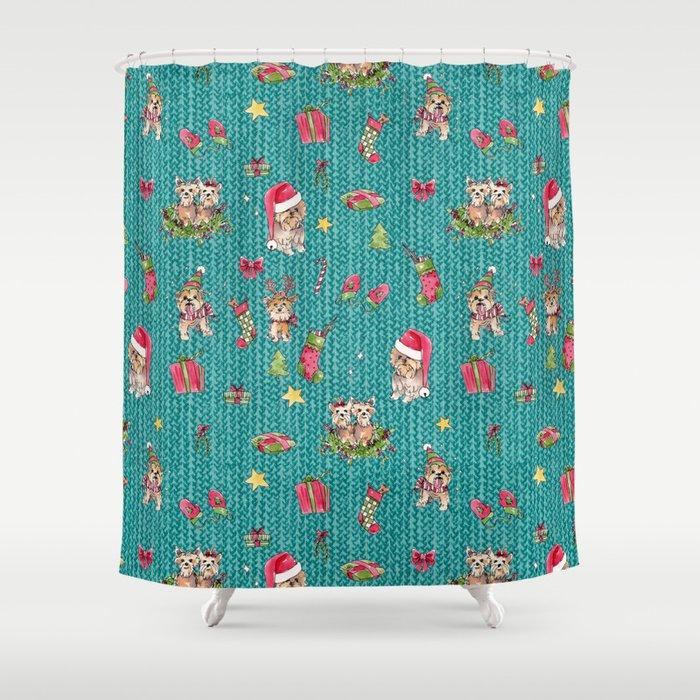 A Very Yorkie Christmas Shower Curtain by julieprescesky | Society6