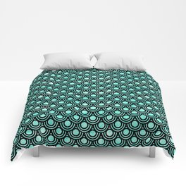 Mermaid Scales in Metallic Turquoise Comforters