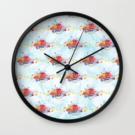 Colorful pink lavender watercolor succulent cactus flowers pattern Wall Clock