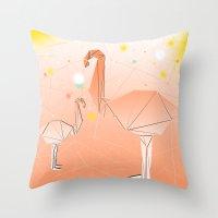 flamingo Throw Pillows featuring FLAMINGO by ARCHIGRAF