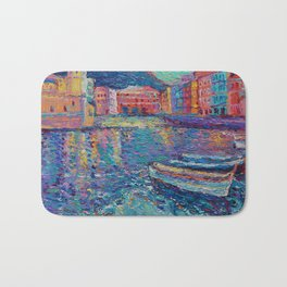 Sunset in Port of Vernazza - modern palette knife sea landscape of Italy by Adriana Dziuba Bath Mat