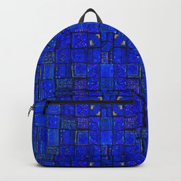 N99 - Calm Blue Traditional Moroccan Geometric Shapes.  Backpack