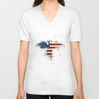 american flag V-neck T-shirts featuring AMERICAN FLAG by Oksana Smith