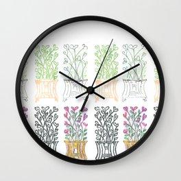 4-Seasons Flowerpots Wall Clock