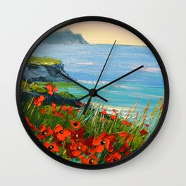 Flowers by the sea Wall Clock