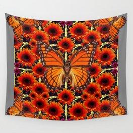 grey monarch butterflies sunflower patterns Wall Tapestry